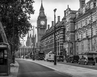 Big Ben Photo, London Photography, Black and White Art, Westminster Print, BW England Photograph, British City Picture, cityscape wall art