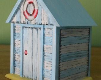 Beach hut decorative/ trinket/gift box