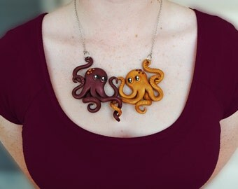Octopus Love Necklace - Polymer Clay - Handmade