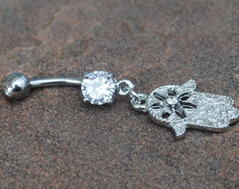 Hamsa Hand Belly Button Navel Ring Peircing, Body Jewelry, 14 G