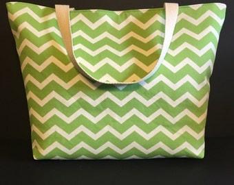 Large Green Chevron Beach Bag, Large Tote, Summer Bag