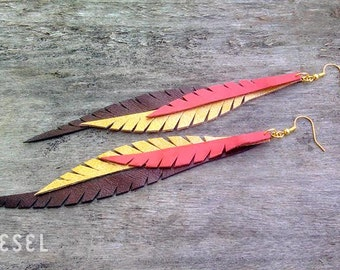 Peach Brown Leather Feather Earrings Gold Leather Earrings Wing Earrings Leather jewelry Feather Jewellery Handmade Long dangle earrings