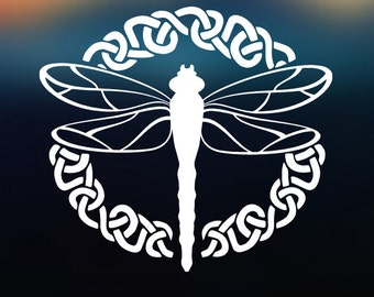 Celtic Dragonfly Decal Vinyl Decal - Car Decal - Car Sticker - Laptop Decal - Laptop Sticker