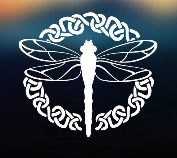 Celtic Dragonfly Decal Vinyl Decal - Car Decal - Car Sticker - Laptop Decal - Laptop Sticker