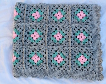 Sale - Ready to Ship**Free Shipping/Crochet Baby Blanket/Crocheted Gray Baby Blanket/Gray Pink Baby Blanket/Knitted Blanket/Baby Shower Gift
