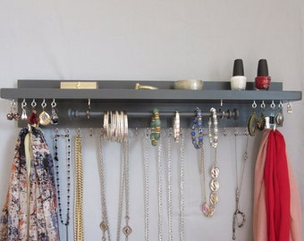 Jewelry / Scarf Holder - Wall Hanging Necklace Storage - Earring Holder - Jewelry Rack - Wide Shelf - Bracelet Bar-