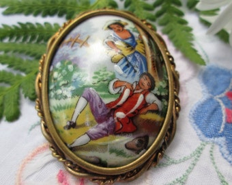 Limoges Brooch with Romantic Couple Oval Centre