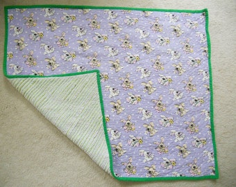 Faux Chenille Purple Puppy Blanket
