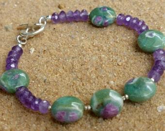 Amethyst and Ruby Zoisite Bracelet Karen Hill Tribe Silver Sterling Silver Faceted Gemstone Bracelet Gemstone Jewellery Boho Chic Artisan