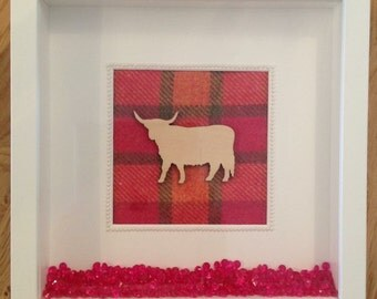 Scottish Highland Coo Tartan Frame