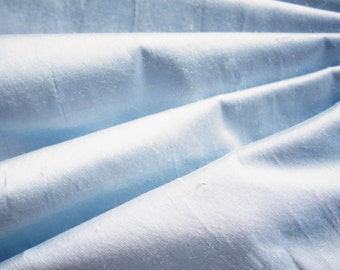 Pure Silk Dupion Shantung in SKY BLUE, Pale Blue, Powder blue fabric 137 cm wide available by the half metre