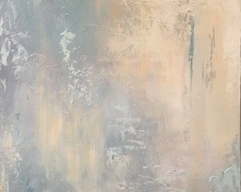 Abstract Oil Painting, blues and greys