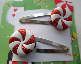 Peppermint barrettes-Candy hair clips-Kids-little girls barrettes-Peppermint candy accessories-Candy clip on earrings-peppermint studs-gifts