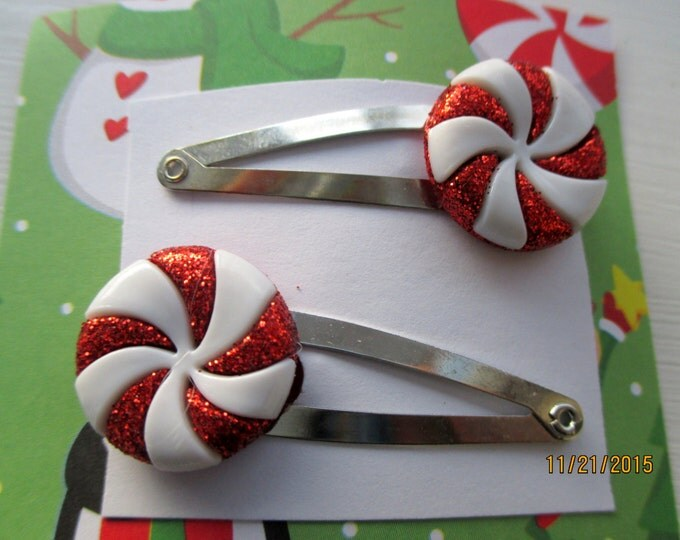 Peppermint barrettes-Candy hair clips-Kids Valentine gifts-little girls barrettes-Peppermint candy accessories-Candy clip on earrings-studs.