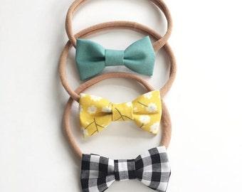 Fabric Bow Headband - Sky, Mustard Floral, Buffalo Check - Headband OR Clip