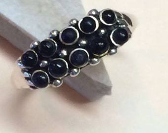 Genuine Black Onyx 925 Solid Sterling Silver Band Ring sz 6.75