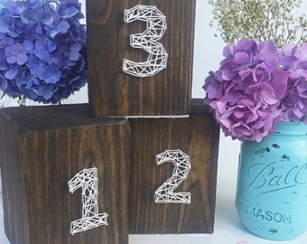 Wedding Double Sided Table Numbers, Centerpieces, Anniversary Tracker, Baby Month Tracker, Milestone Tracker, String Art Wooden Piece - Made