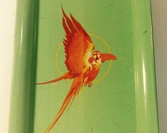 Vintage parrot decorative tray