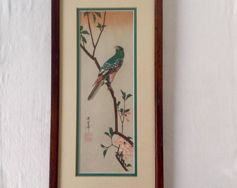 Hiroshige Japanese Woodblock Print of a Parakeet