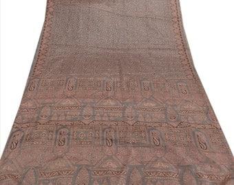 KK Art Silk Saree Grey Printed Sari Craft Paisley Fabric 5 Yard