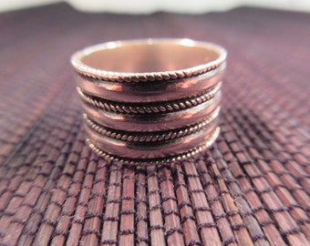 Cool Retro Sterling Silver Ring - 8