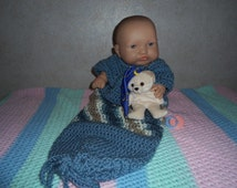 LOT Of 2 Items  Shades of Blue Baby One Piece Comfy Sack Outfit Sz 0-6 mo and Small Snuggle Bear Toy in Excellent Condition   ON SALE