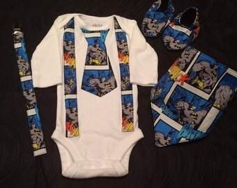 Batman Suspender and Neck Tie Onesie