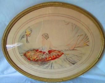 Beautiful Antique Art Nouveau Oval Flapper Girl wall hanging picture Titled Bon Jour Signed by artist French