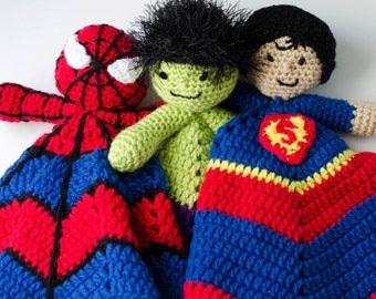 Super Hero Lovey Collection- CROCHET PATTERN instant download - blankie, blankey, security blanket