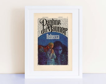 Rebecca by Daphne du Maurier Print on an antique page, book cover art print