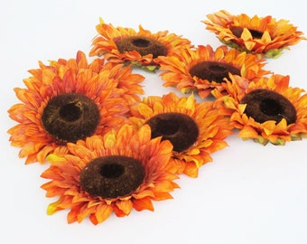"""Lot of 18 Artificial Flowers Sunflowers Big Orange Flower 6.5"""" Floral Hair Accessory Wedding Decor Supplies Faux Fake Rustic Flowers"""