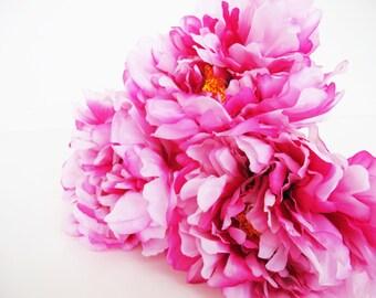8 Pink Silk Peonies Big Artificial Flowers Peony Pink Yellow Flower DIY Wedding Crafts Decoration Decor Spring Summer Simulation Flower