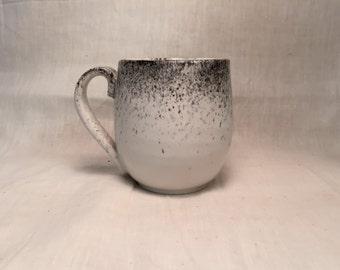 ceramic mug - coffee cup - white glaze with black spray.