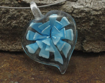 Blue Flower Pendant Necklace made with a Murano Glass Heart Pendant Choker Necklace Murano Glass Jewelry