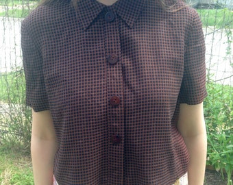 Brown Plaid Top