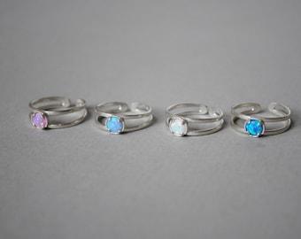 Opal gift ring. White Opal Ring. Opal ring Sterling Silver. Adjustable Opal ring. Fire Opal Ring. Stack Opal ring. Opal rings for women.