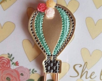 Hot Air Balloon Paper Clip with Flowers