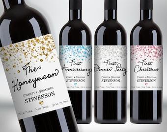 "Custom ""First"" Marriage Milestones Wine Bottle Label Set - Newlyweds Gift - Confetti Glitters - DIY Print, Printable PDF #4CG"