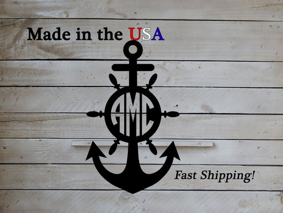 Anchor with initials large anchor door decor childs decor for Anchor door decoration