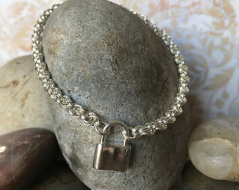 sterling silver bracelet, chain mail, double spiral weave, lobster claw clasp, handmade,