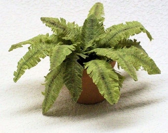 miniature fern potted plant, Victorian dollhouse foliage plant accessories in a clay pot