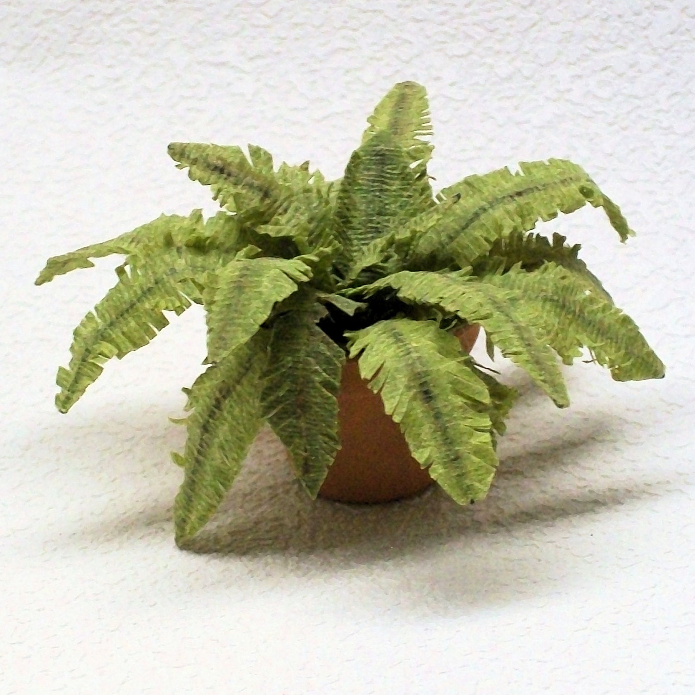 Miniature Fern Potted Plant Victorian Dollhouse Foliage Plant