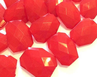 XL ruby red 39mm big acrylic beads, chunky craft supplies for wire bangle, jewelry making necklace, big red beads, large red beads