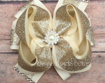 Ivory and Gold Hair Bow - Ivory and Gold Bow - Ivory and Gold Boutiqie Bow - Ivory Hair Bow - Flower Girl Bow - Flower Girl Hair Bow