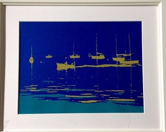 Nautical hand pulled screen print