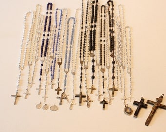 Large Rosary set, religious decor, rosaries,crucifixes ,20 Rosary beads ,