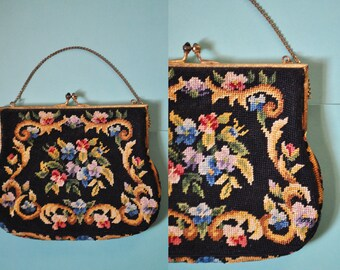 Vintage 20s Floral Embroidered Purse Petit Point Tapestry Edwardian Mini Purse Cross Stitch Handbag Victorian Purse Prom Clutch