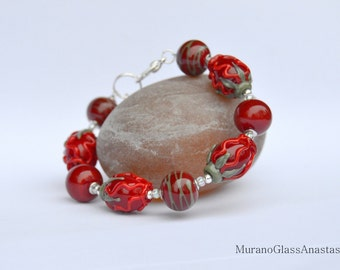 "Handmade lampwork bracelet ""Red Flowers"" made by MuranoGlassAnastasia"