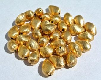 10 Pcs Gold Plated Teardrop Shape Metal Beads, High Quality Gold Plated Metal Beads (MTB22)
