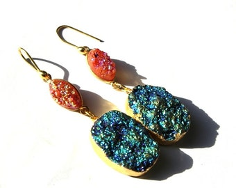 """3 1/4"""" 24k Gold Electroplated Green & Orange Druzy Earring, Bezel Set Earring, Dangle Earring, Druzy Oval n Marquise Earring DE17"""